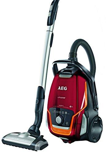 AEG UltraOne UOENERGY+ Staubsauger mit Beutel EEK A (850 Watt, 5 L Staubbehältervolumen, inkl. Hartbodendüse, 12 m Aktionsradius, waschbarer Allergy Plus Filter) Bodenstaubsauger Rot