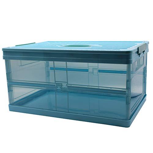 YUX Förvaringsbox, vikbar förvaringslåda med lock, bokförvaringslåda, utomhus/foto/tillbehör/student/familj (ljusblå och transparent)