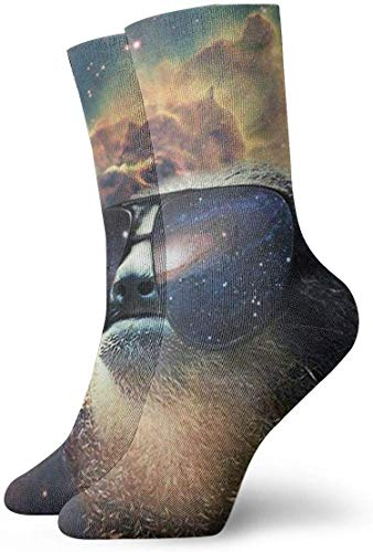 Calcetines divertidos con gafas de sol Galaxy 3D impresos deportivos calcetines largos personalizados, 30 cm
