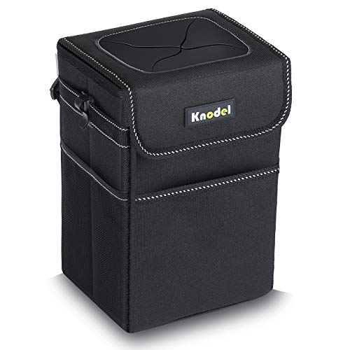 Knodel Car Garbage Bag, Waterproof Car Trash Can with Lid, Auto Garbage Bag Hanging, Leak-Proof Car Storage Bag (Black)