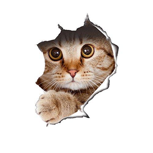 Jysport pegatina de gato 3D - vinilo - Graffiti, decoración para portátiles, equipaje, bicicletas, pegatinas de pared - Tatuajes de pared - nevera, Cat