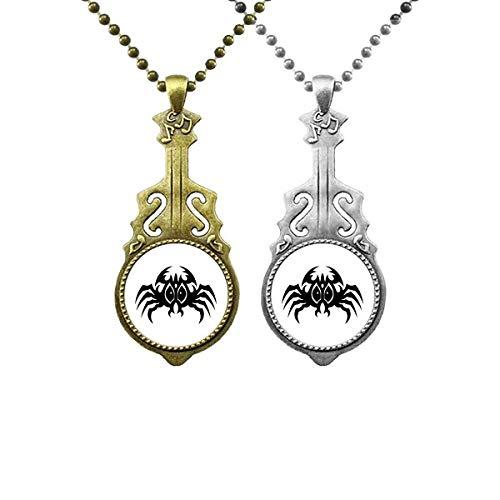 Colgante de guitarra con diseño de araña negra, diseño de insectos