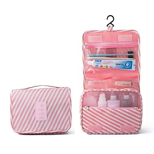 Sacs suspendus de toilette Organisateur Maquillage Sac Organisateur Voyage Trousse de maquillage Make Up Pouch boîte toilettes bain Menwomen toilette Bog (Color : Pink stripe)