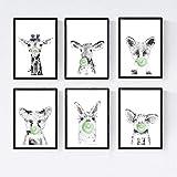 Set 6 posters animales bebes con chicle. Girafa Cerdo Vaca Zorro Oso Llama.Tamaño A4
