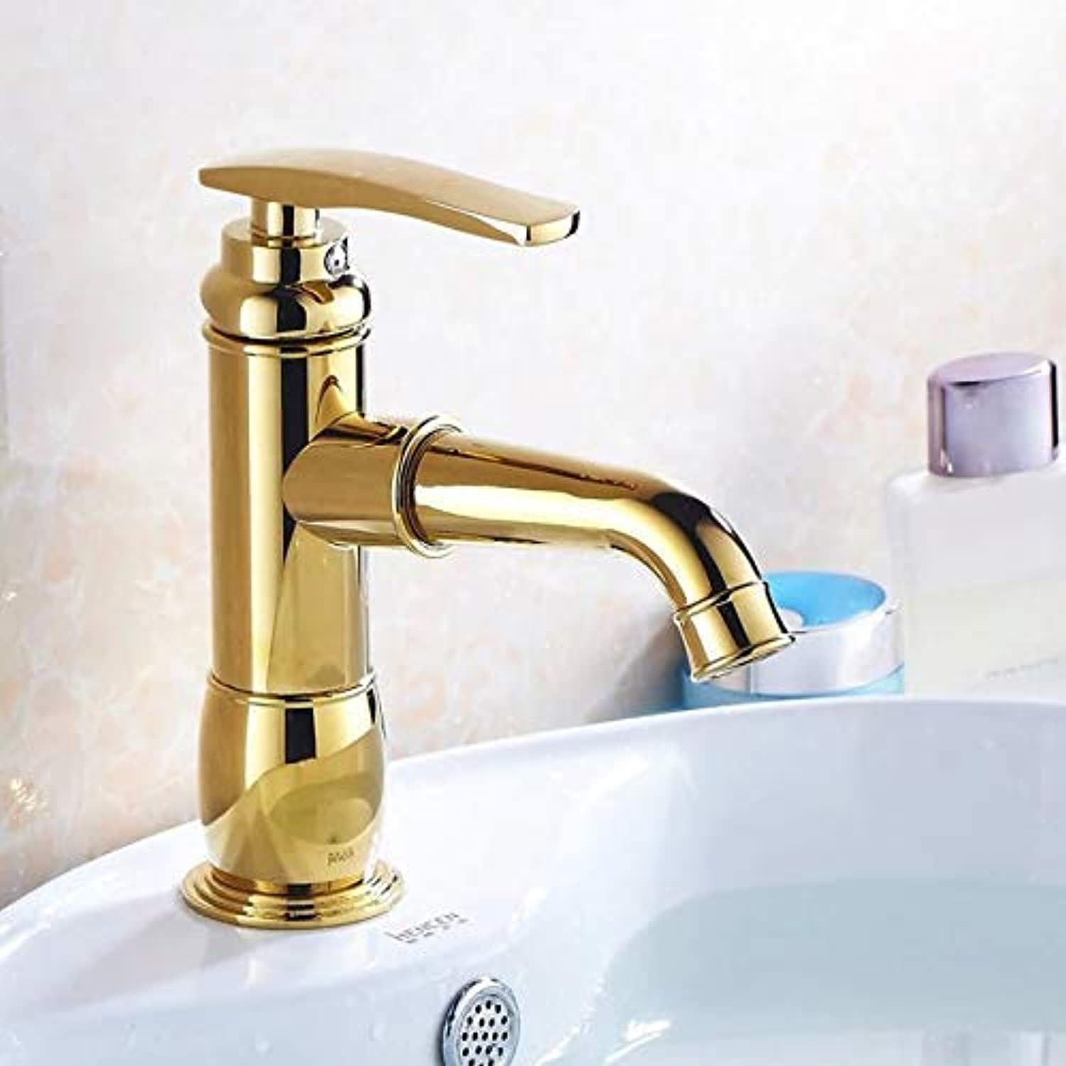MONFS-Bathroom tap Taps gold-Plated Faucet Copper Single-Hole Basin Mixer Hot And Cold