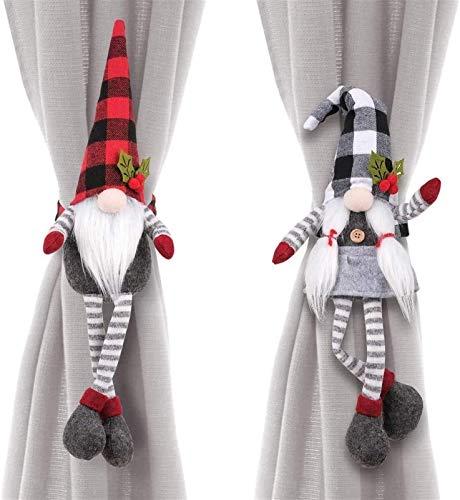 2 piezas de Navidad de la cortina de la hebilla de Santa muñeco de nieve de la historieta del sitio Tiebacks Ganchos Accesorios Cortinas anillos Gancho Abrazadera for la Navidad Ventana Inicio Decorac