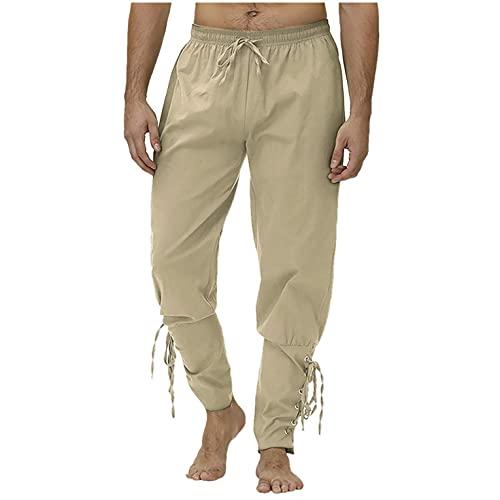 WXZZ Correas de tobillo, pantalones para hombre, ropa medieval con cordón, pantalón monocolor, pantalón de atado, pantalones ligeros de algodón, caqui, XL