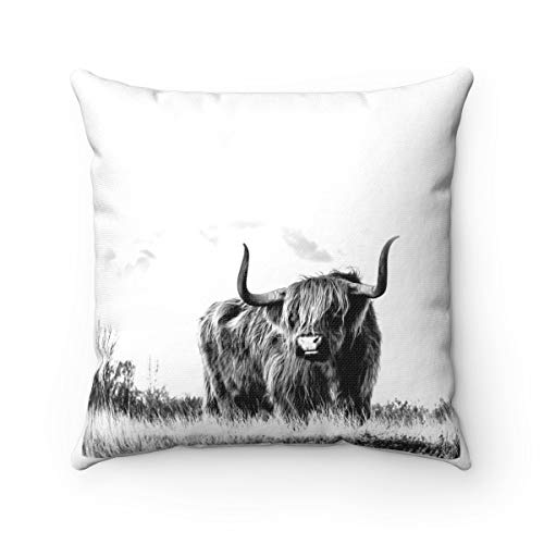 Lplpol Highland Cow Farmhouse Pillow, Ranch Pillow Decor, Rustic Country Western Home Decor, Couch Pillows For New Home Owner, Cow Lovers Gift For Home Couch Sofa Bedding 22x22 Inches