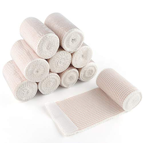 Elastic Bandage Wrap, Latex Free Medical Cotton Compression Bandage Roll with Hook and Loop Closure for First Aid, Sprains and Injuries, 3 Inch x 5 Yards Stretched, 10 Pack