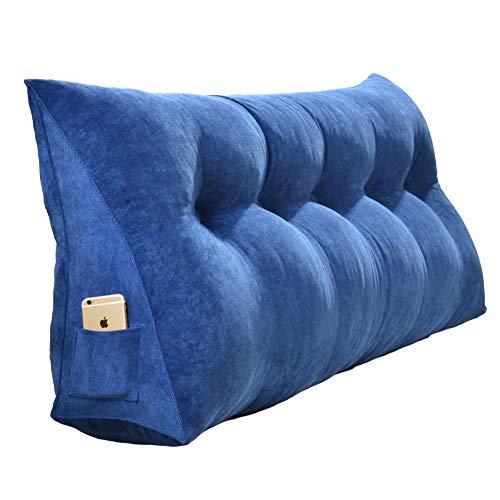 DULPLAY Cojín de cuña triangular grande para sofá cama, cojín de lectura, respaldo de cama, cojín lumbar con funda extraíble, 180 cm