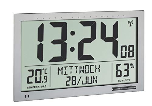 TFA Dostmann Funk Wanduhr XXL, 60.4517.54, mit Temperatur & Luftfeuchtigkeit, großes Display, gut ablesbar, Silber