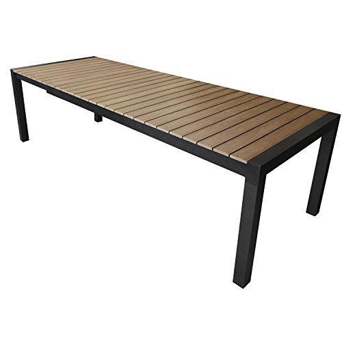 Wohaga® Ausziehtisch Gartentisch 205/275x100cm, Aluminium, Polywood, Terrassentisch Gartenmöbel Terrassenmöbel Schwarz/Braun