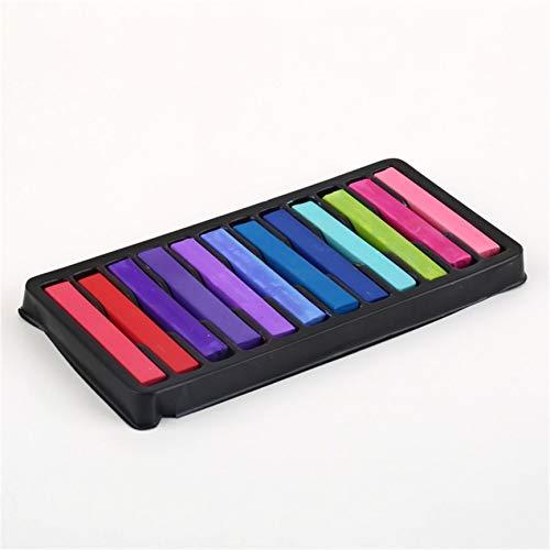 12 colores no tóxicos Crayones suaves para el cabello Pastel Kit Tiza temporal Color de cabello de belleza personalizada para bricolaje estilo de cabello - Negro