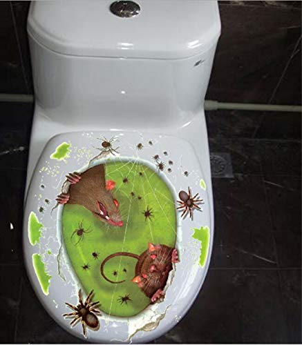 Halloween Toilet Seat Sticker, 3D Rat Spider Decal for Toilet Lid Halloween Bathroom DIY Home Decor (Mouse)