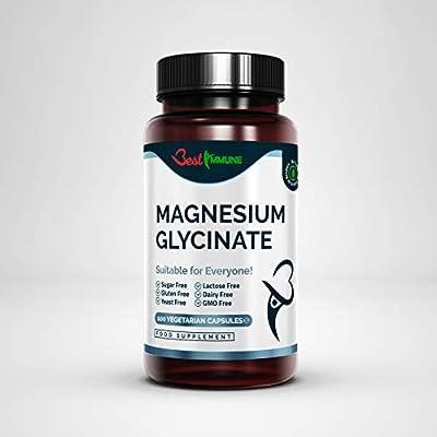 Natural Magnesium Glycinate 500mg Premium Quality Ideal Strength 100 Vegan Capsules Highest Bioavailability