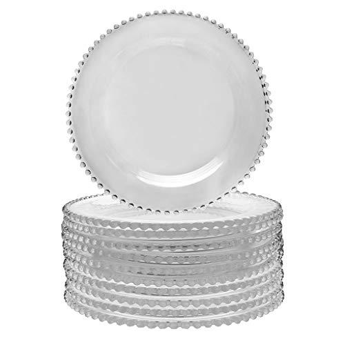 Bella Perle Assiette en verre avec perles Edge, utilisé par Celebrity Chef Nigella Lawson. Table des Ensembles à partir de 2–12 – Idéal pour repas en plein air, les dîners, Divertissants – D 26.5 cm, verre, claire, Set of Ten Bella Perle Dinner Plate