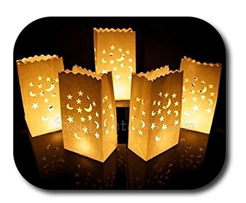 50 Stk. Lichttüten, Candle Bags, Luminaria Party & Feier Geburtstag - Mond und Sterne Design