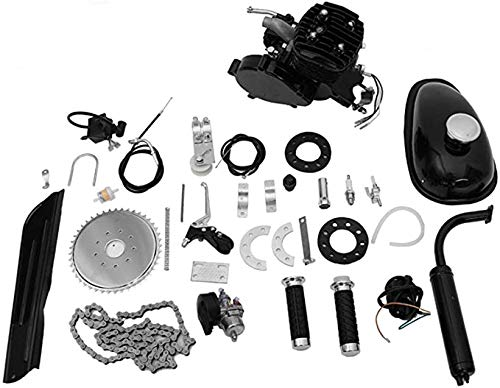 Rpvati New 80CC Bicycle Engine Kit, Black 2-Stroke 80CC Bicycle Engine, 5.0-6.0HP, 3500W/6000R/Min, Gas Motorized Bike Bicycle Moped Scooter Motor Kit with Speedoemter【US Stock】 (BK)