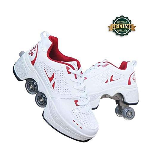 YPYGYB Inline-Skate, 2-in-1-Mehrzweckschuhe, Verstellbare Quad-Rollschuh-Stiefel Outdoor Sportschuhe,Red-41
