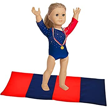 ebuddy 3pcs Sports Leotard Doll Clothes for American Girl Dolls Includes Gymnastics Outfit Mat Set Gold Metal  Patriotic Design for Summer Olympics