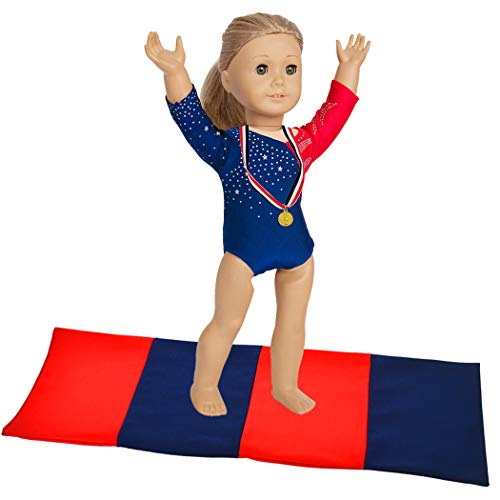 ebuddy 3pcs Sports Leotard Doll Clothes for American Girl Dolls Includes Gymnastics Outfit, Mat Set, Gold Metal (Patriotic Design for Summer Olympics)