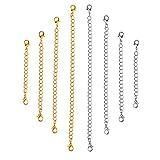 OUNONA Lot de 8 rallonges en chaîne d?acier inoxydable pour colliers, et bracelets, doré/argenté