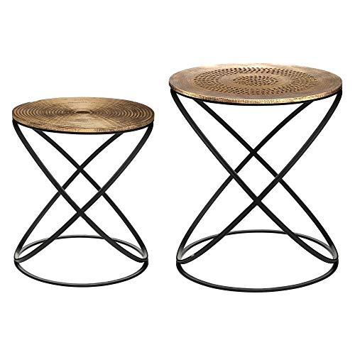 Atmosphera – Juego de 2 mesas auxiliares con pie de metal y tablero de madera, decoración étnica ⭐
