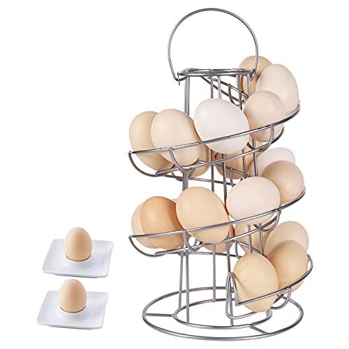 Egg Skelter Spiral Design,Metal Egg Display Egg Rack Modern Egg Storage Display Egg Holder with 2 Egg Cups for Raw/Soft Hard Boiled Egg,Silver