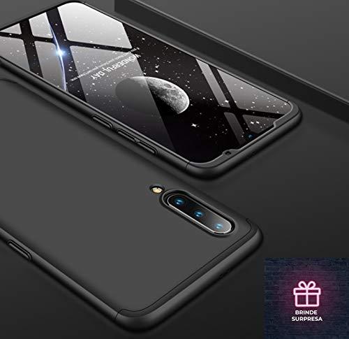 Capa Case Capinha 360º Anti Impacto Fosca Para Xiaomi Mi 9 Normal De 6.39 Polegadas + Película De Vidro (Preto) (Não Serve no Mi 9 Lite) (Total Preto)
