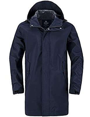 Wantdo Men's Rainwear Waterproof Rain Jacket Mid-Length Rain Coat Navy Blue S from Wantdo