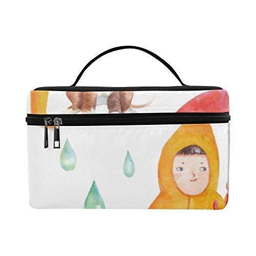 Bolsa de Maquillaje Colgante portátil Estuches de Tren cosméticos Bolsas de cosméticos Resistentes Paraguas de Colores y Linda niña Bolsa de Gran Capacidad C
