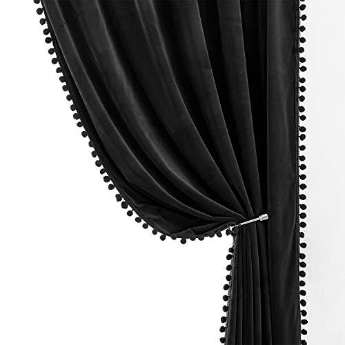"Treatmentex Pompom Black Velvet Curtains for Bedroom Windows 84"" Long Decorative Room Darkening Curtains for Living Room 42"" w x 2Panels"