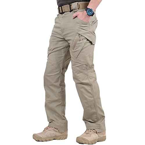 BELLOO Herren Taktische Hose Baunwolle Chino Hose Rangerhose Kampfhose Militär Hose,Khaki,M