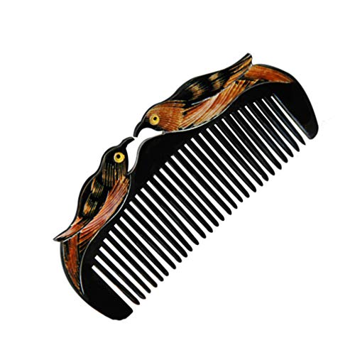 Healifty peine de pelo de bolsillo con peine de cuerno de búfalo antiestático sin mango diseño de pájaros del amor (negro)