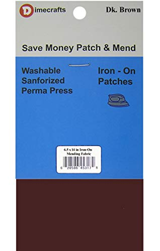 RPDIYME Iron-On 1 Patch Dark Brown Mending Fabric 6.5 x 14 Inch, Compare to Bondex