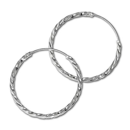 SilberDream Ohrringe 30mm Damen-Schmuck 925er Silber Creolen gedreht SDO87123