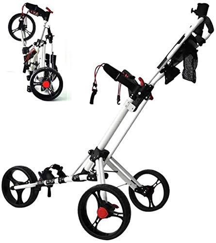 asdasd Golf Push Cart 360 pivotant 3 Roues Chariot de Golf Pliable avec Porte-Parapluie Scorecard et Porte-Boisson Une Seconde pour Ouvrir et Fermer