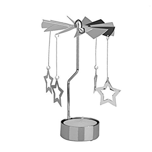 LEORX Rotierender Teelichthalter Kerzenhalter mit Kerze Set (Silber Stern Muster)