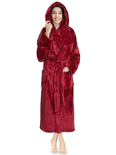 PAVILIA Women Hooded Plush Soft Robe   Fluffy Warm Fleece Sherpa Shaggy Bathrobe (L/XL, Wine Red)