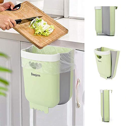 Beejirm Cubo de Basura Plegable Colgante para Cocina, Mini Papelera Cocina Bote Contenedor de Basura Plegable Pequeño de Plástico para Puerta de Gabinete Coche Dormitorio (Verde)