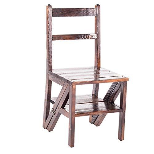 Multifunktions Wasserdicht Die Holzleiter, Anti-Korrosions-Dreistufenleiter Multiple Uses Stuhl Innenblumenzahnstange/Bücherregal stabil (Color : Brown, Size : 45 * 70 * 87cm)