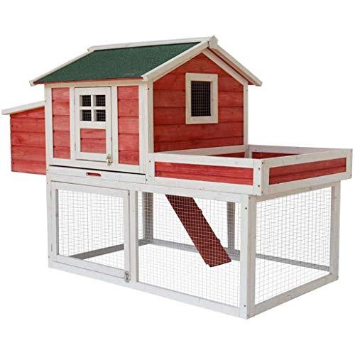 MIEMIE Gallinero Jaula para Pollos al Aire Libre Jaula para Palomas doméstica Grande y Pesada Caja de cría de Madera Suministros para Mascotas Pajareras (Color: Rojo, Tamaño: 120 * 72 * 60 cm)