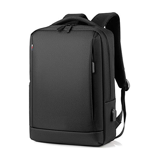 Laptop Bag Backpack with USB Charging Interface Large Capacity Layered Travel Backpack Waterproof Nylon Fabric School Bag Suitable for 15.6-inch Laptop (Color : Black)