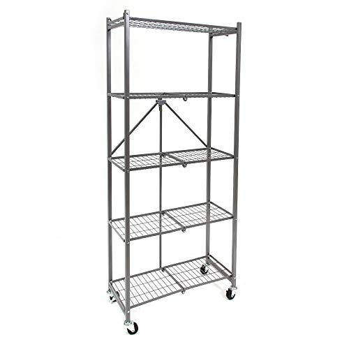 Origami 5-Shelf Slim Pantry Storage Rack with Wheels| Kitchen Pantry Wire Shelving with 4 Wooden Inlays, Freestanding Shelf, No Assembly or Tools Required | 24
