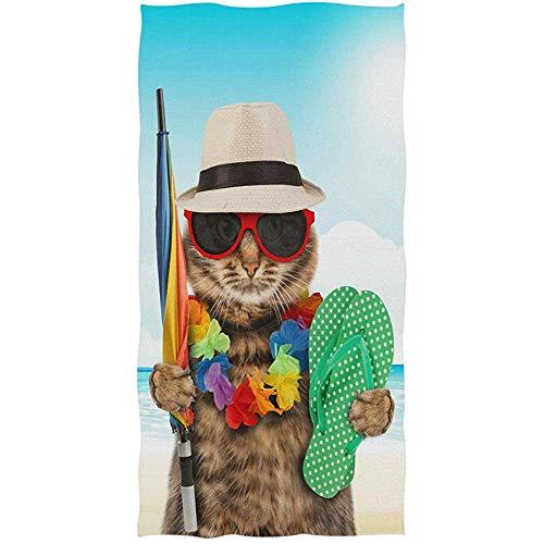 Badetücher Hand Catfunny Cat Umbrella Hut Brille Hausschuhe Guest Multipurpose Soft Large Lake Sehr saugfähig