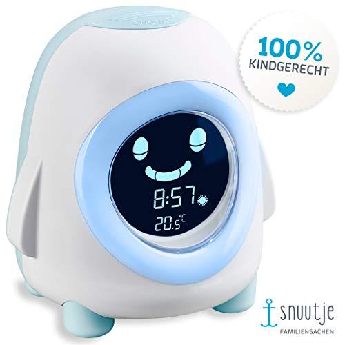snuutje Licht-Wecker Pino Kinderwecker mit Nachlicht, Musik und Beleuchtung, Aufwach- und Schlaf-Trainer, Einschlafhilfe für Jungen und Mädchen