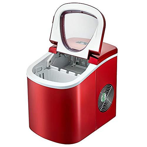 Máquina Automática Para Hacer Cubitos De Hielo Rojo De 26 Libras, Tablero De ABS, 12 Kg / 24 H, 2,2 L, Máquina Automática Para Hacer Hielo En El Hogar Para Fiestas Familiares O Reuniones De Y Vecinos