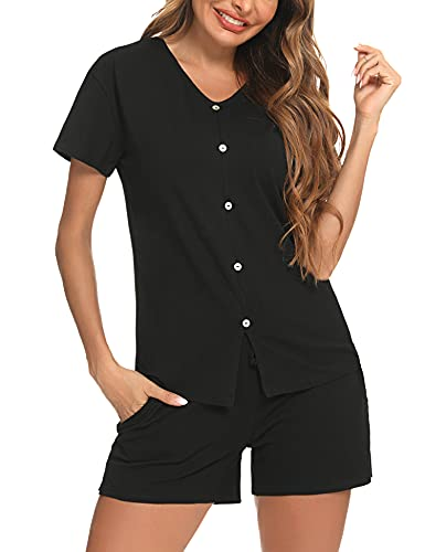 Aibrou Conjunto Pijama Mujer Pijama Mujer Verano del Pantalon Corto Pijama Mujer Suave 2 Piezas Pijama Mujer Manga Corta, Negro,L