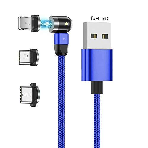 Ruibo Sike - Cable de carga magnético USB 3 en 1 para carga de 360 ° y 180 °, cable giratorio de 2,4 A de nailon, cable giratorio magnético 2M=6ft azul