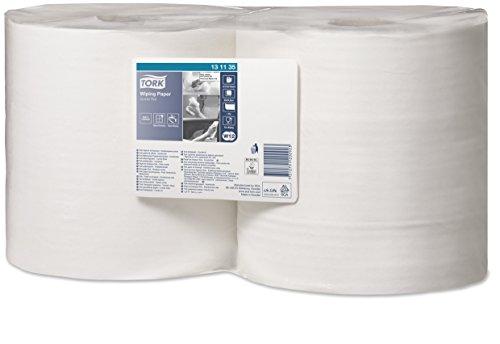 Tork 130040 Starke Mehrzweck Papierwischtücher für W1 Bodenständer- und Wandhalter-System / 2-lagige Papierrolle in Weiß / Premium Qualität / 1 x 510 m